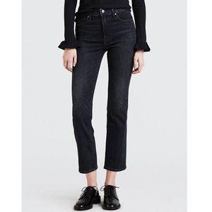 Levi's Highwaisted Black Crop straight leg jeans 4